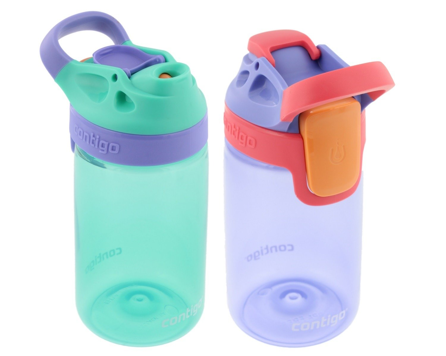 Contigo 14oz Kids Autoseal Gizmo Sip Water Bottles- Persian Green/Lavender (2 Pack) - Perfect for Children & Parents on the Go