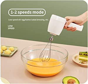 FRSWAY New Electric Hand Mixer, Wireless Whisk 5-Speed Electric Hand Mixer, Portable Kitchen Blender Egg Whisk, with2 Beaters for Cake, Baking & Cooking,White