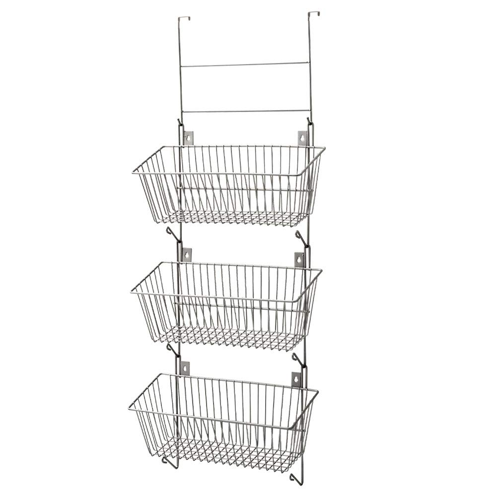 EZOWare Over the Door & Wall Mount Storage Organizer, 3 Tier Modular Hanging Metal Wire Basket Bin Set with Hooks for Kitchen, Pantry, Bathroom, Closet, Dorm, Office - Silver
