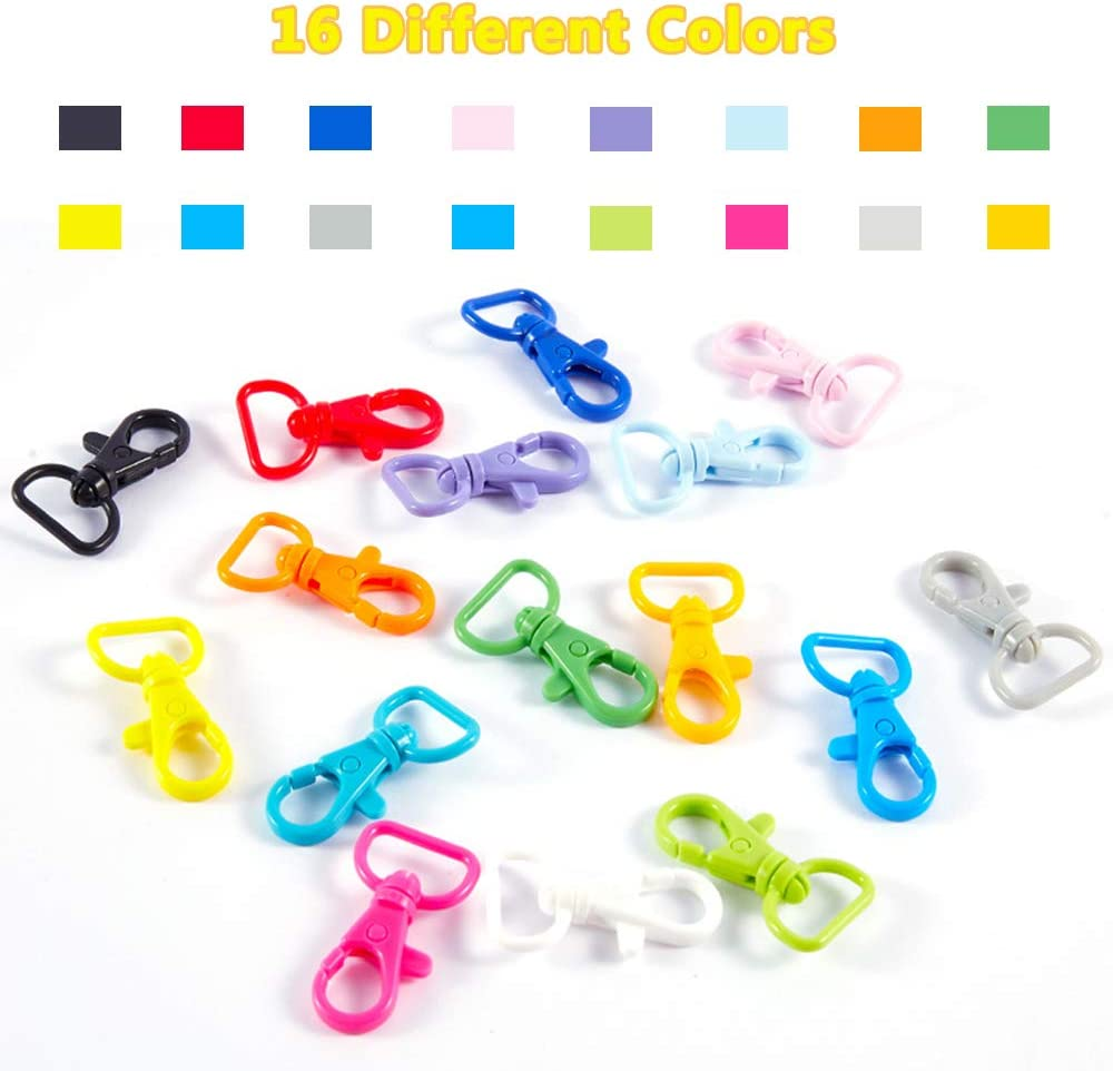 50 Pieces Plastic Swivel Lobster Claw Clasps Lanyard Snap Hooks Multicolor Keychain Hooks Clips for Key Ring Jewelry Making Purse Hardware Sewing DIY Craft Project