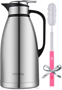 Thermal Coffee Carafe, 101Oz Stainless Steel Thermal Insulated Carafes, BEYONDA Double Walled Large Insulated Vacuum Flask, 12 Hour Heat Retention, 3 Liter Tea, Water, and Coffee Dispense