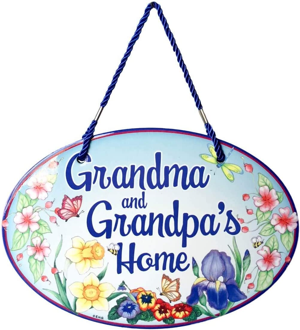 Welcome to Grandma & Grandpa's Home with Artwork of Spring Flowers Welcome 11x8 Ceramic Door Sign by E.H.G.
