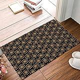 Family Decor Arabian Ornament Black Gold Pattern Doormat Entrance Mat Floor Mat Rug Indoor/Outdoor/Front Door/Bathroom Mats Rubber Non Slip (30''x18'',L x W)