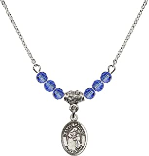 18-Inch Rhodium Plated Necklace with 6mm Aqua Birthstone Beads and Sterling Silver Saint Josemaria Escriva Charm.