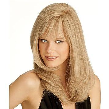 SHKY Moda larga recta rubia pelucas de pelo completo con franja de alta calidad peluca para