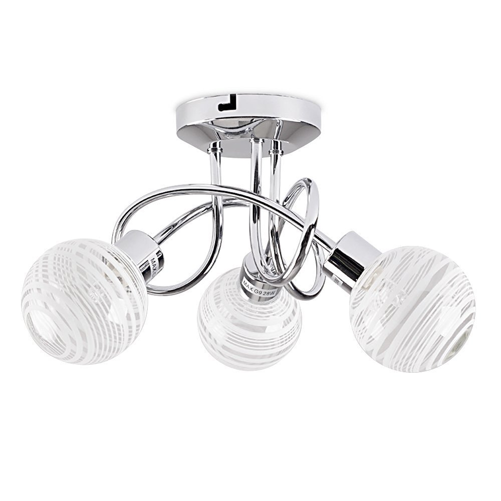 Modern 3 way polished chrome flush curved arm ceiling light with modern 3 way polished chrome flush curved arm ceiling light with beautiful clear and frosted glass circular ring design globe shades amazon lighting aloadofball Gallery