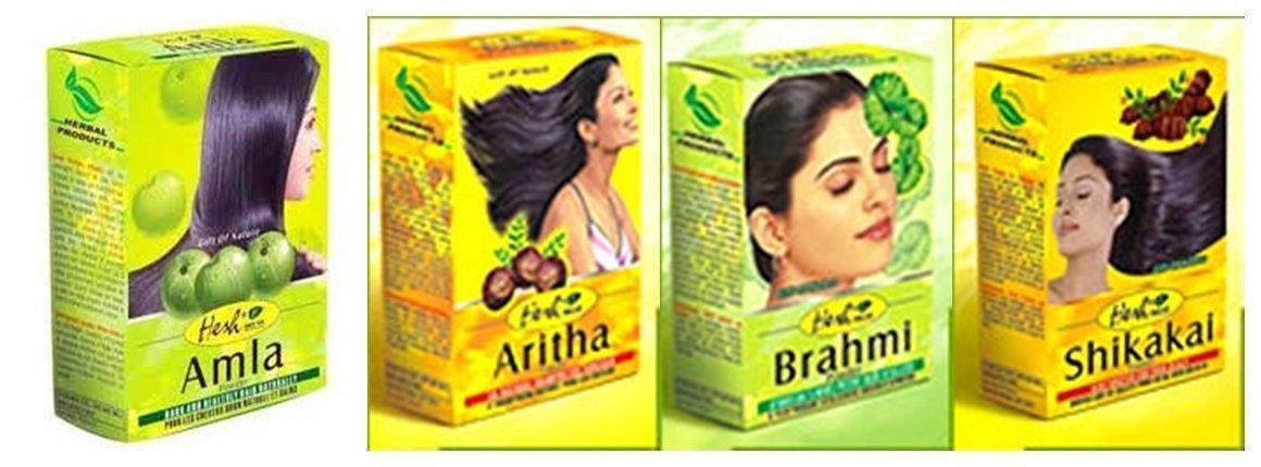 Hesh Herbal Amla Powder 100G Brahmi Powder 100G Shikakai Powder 100G Aritha Powder 100G - 1 Complete Hair Care Combo Pack