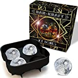 Ice Ball Maker Mold by BAR-KRAFT® - #1 Rated on Amazon - Deluxe Black Silicone Tray with 4 x 4.5cm Ice Sphere Capacity - Gold-trim Packaging - 100% BPA-free - Lifetime Guarantee