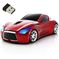 Wireless Mouse Cool Sport Car Shape 2.4GHz Optical Cordless Mice with USB Receiver for PC Laptop Computer 1600DPI 3 Buttons (red)