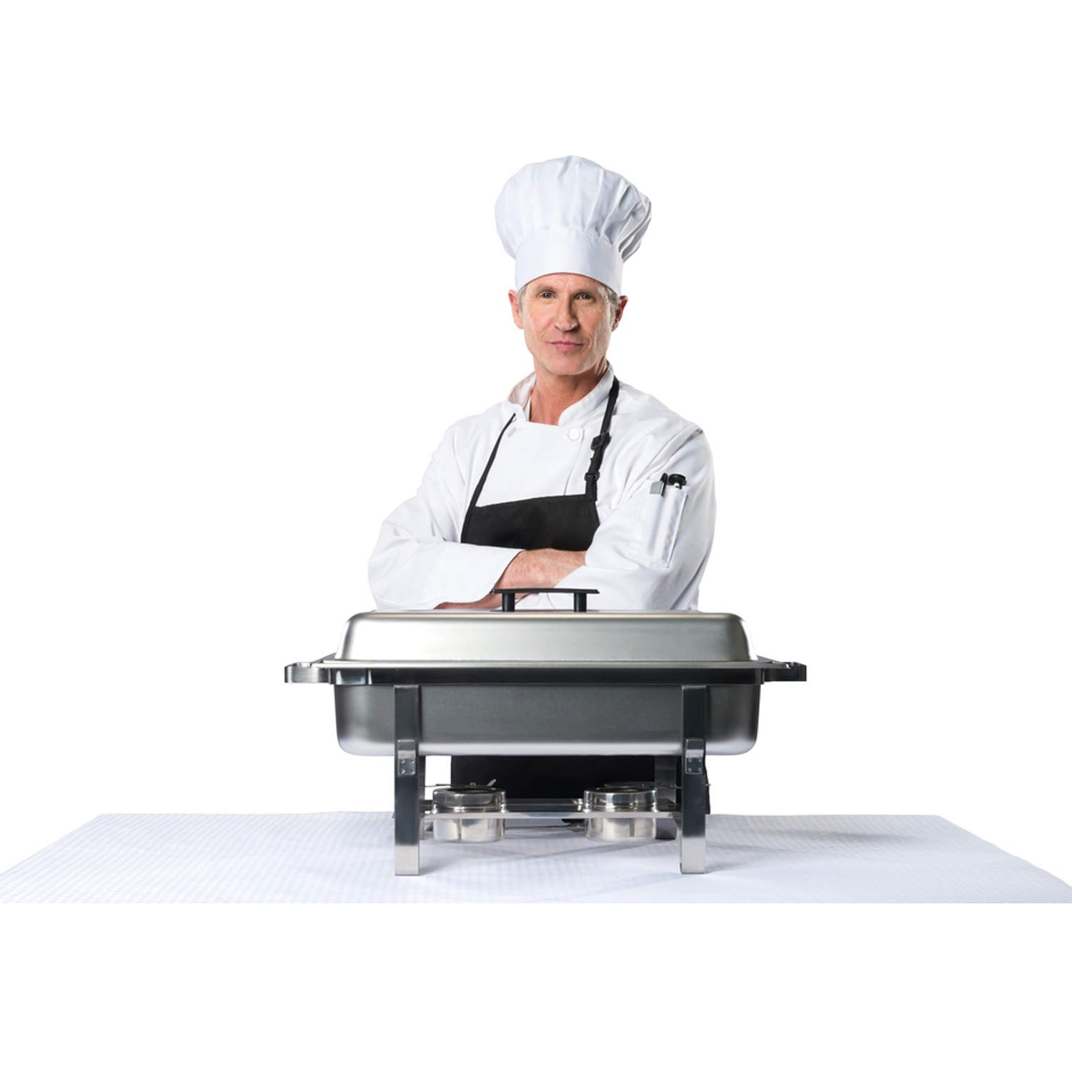 Chafing Dish Buffet Set w/Fuel - Folding Frame + Water Pan + Food Pan (8 qt) + 6 Fuel Holders + 6 Fuel Cans - 3 Full Warmer Kit, Stainless Steel Construction. by HeroFiber (Image #7)