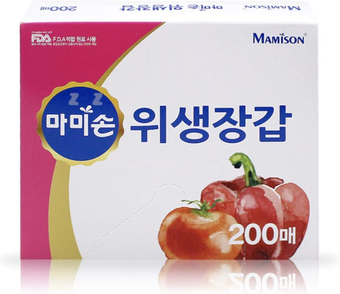 1 Pack Mamison Disposable Clear Plastic Gloves 200 Pcs