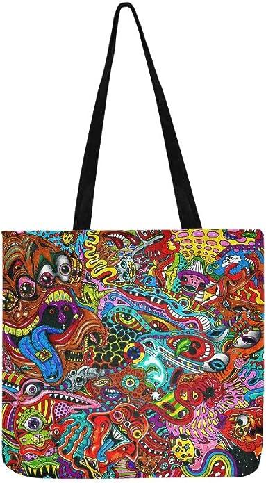 Black white psychedelic art tote bag modern tote bag art tote original art tote artist tote funky computer bag gym bag doodle art tote bag
