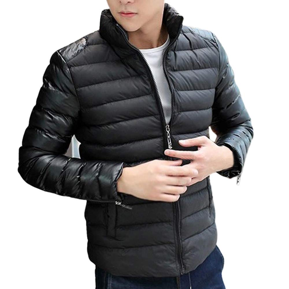 Allywit Men Fashion Stand Collar Zipper Warm Cotton Winter Thick Coat Jacket