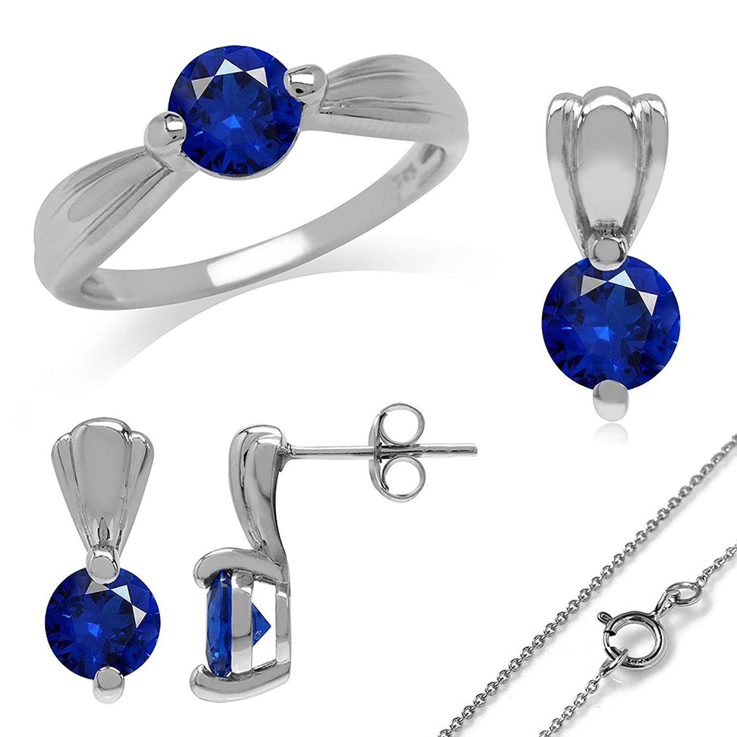 Synthetic Sapphire Blue White Gold Plated 925 Sterling Silver Ring