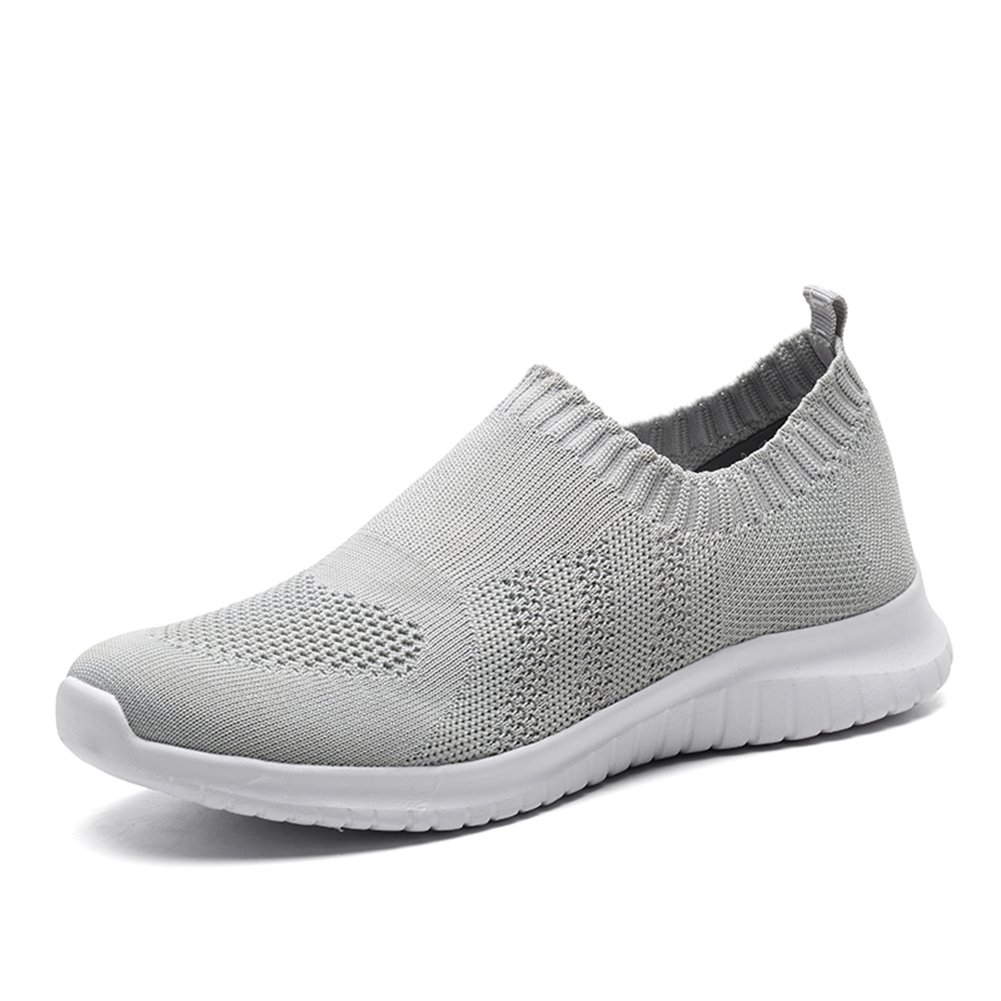 TIOSEBON Women's Walking Shoes Lightweight Mesh Slip-on- Breathable Running Sneakers 7.5 US Gray