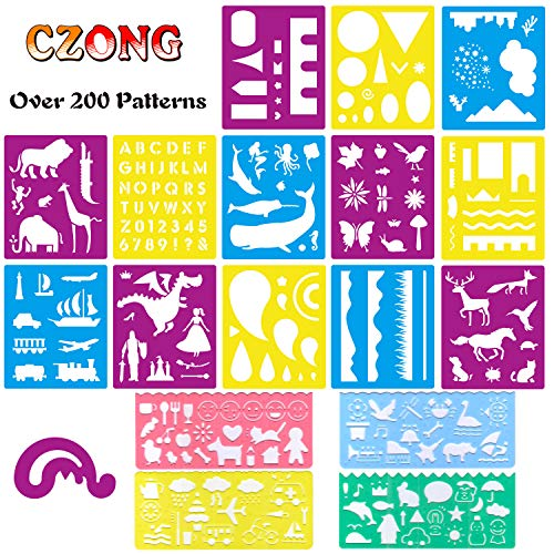 - CZONG 18 Pcs Plastic Journal Stencils Set Over 200 Different Patterns for Kids Ideal for Educational and Creativity Toy Painting Washable Template Drawing Stencil for Children with 1 Zipper Bag