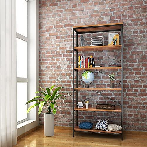 shaofu 5-Tier Industrial Style Bookshelf and Bookcase