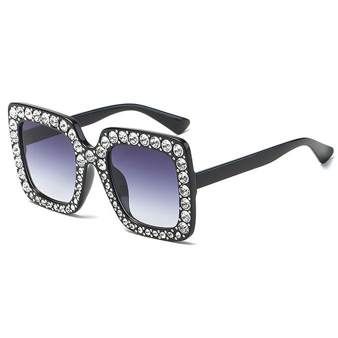 e96eac746a66c Rhinestone Fashion Sunglasses Party Decorative Gem Trim Square Thick  (BlackClear) art birthday colorful cute