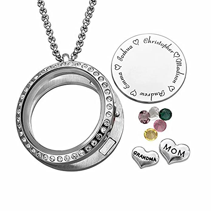 Disc Pendant Family Necklace Custom for Mother//Grandmother Boknight Personalized Circle Necklace Engraved Names