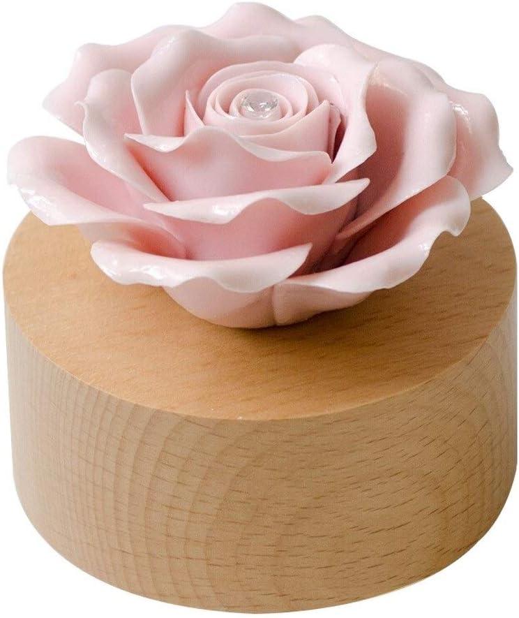 Hong Yi Fei-Shop Caja Musical Caja de música giratoria de Rose Día de San Valentín Regalo de cumpleaños Regalo Creativo Regalo de graduación Caja de música Caja de música