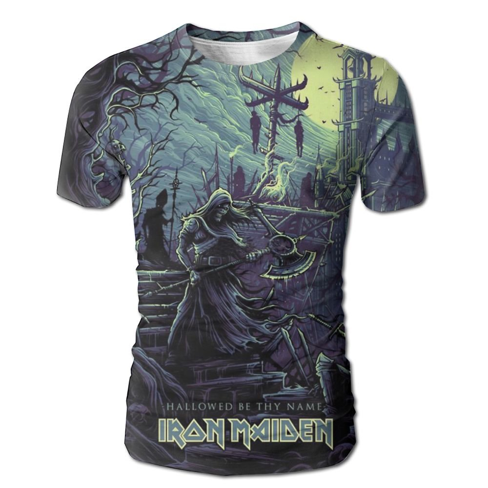 XINSHOU Iron Maiden Hallowed by Thy Name Men's 3D All Print Short Sleeve Tshirt L
