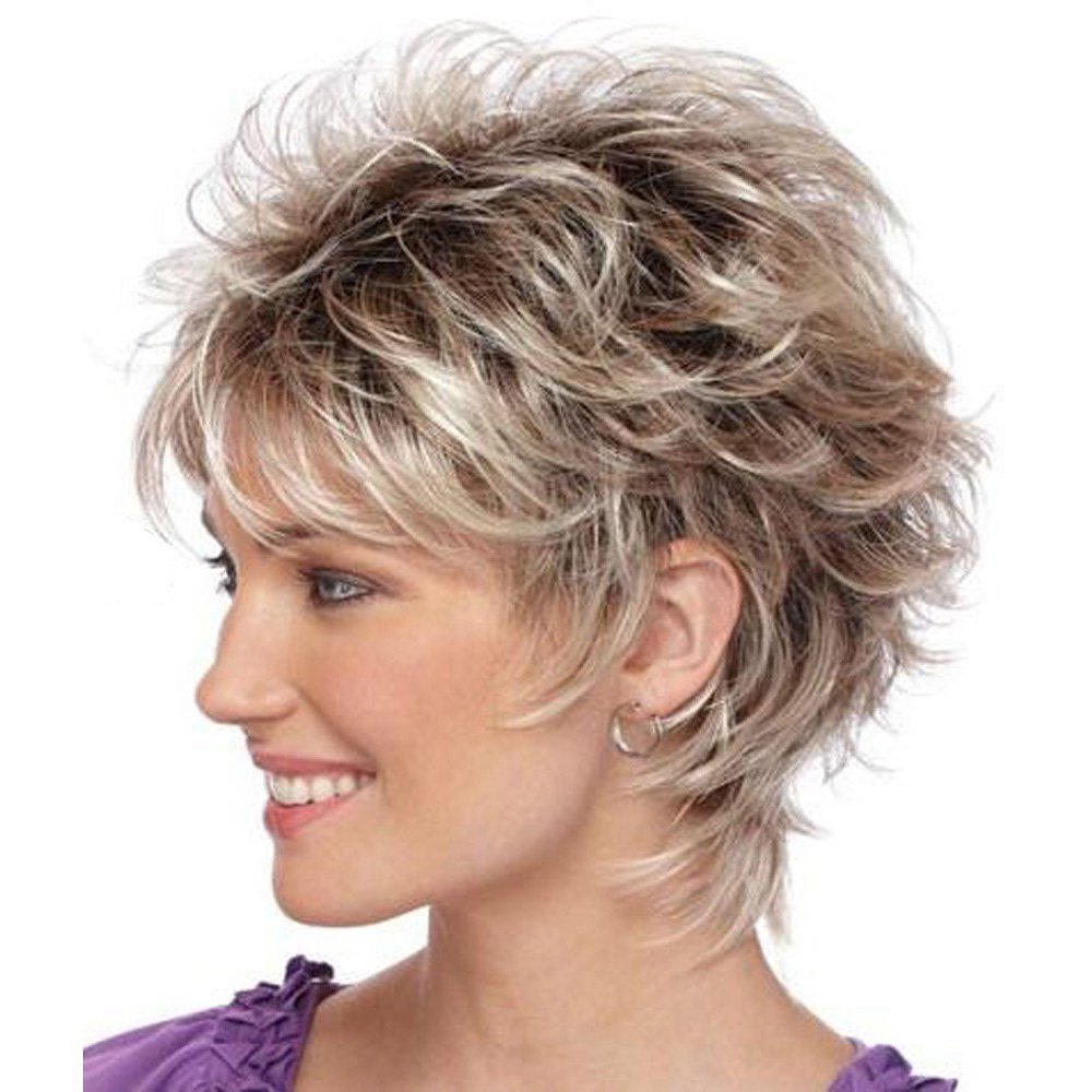 KUNMEI Short Curly Wigs for Women - Blonde Mix Red Wigs Heat Resistant Synthetic Hair Fashion Wigs + Wig Cap