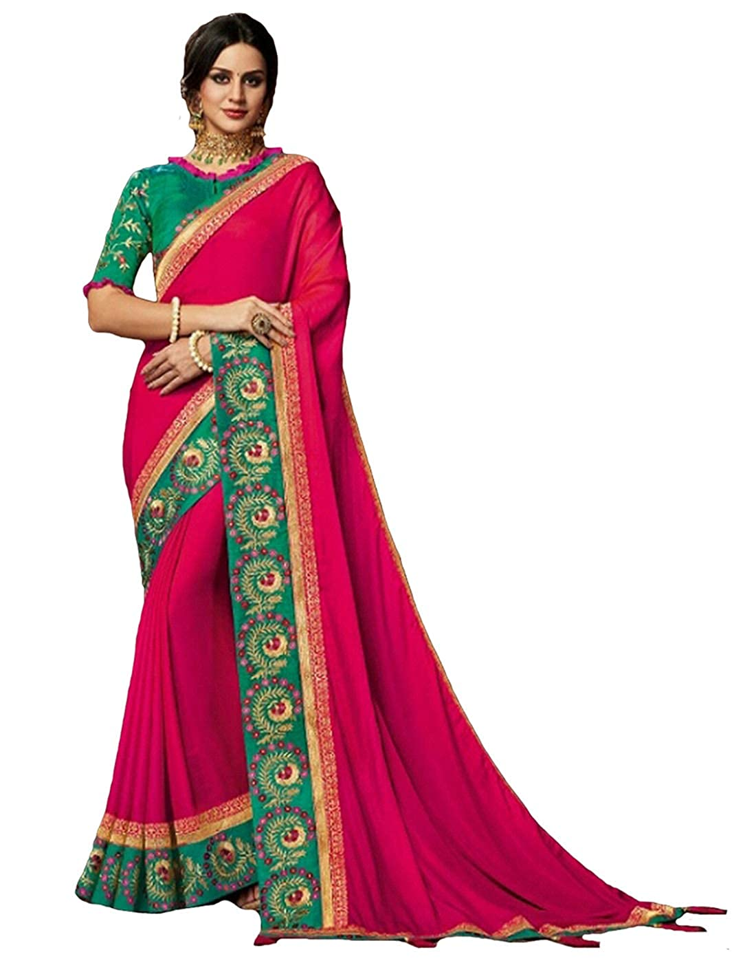 a6450ed1a1 Amazon.com: DesiButik's Party Wear Lovely Pink Satin Silk Saree: Clothing
