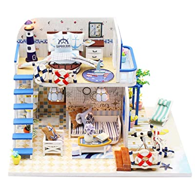 ROOMLIFE DIY Mini Dollhouse Kit Sea-View Room Nautical Enthusiast ,Husband Christmas,Birthday,New Year Gift Toy House with Led Lights House Modern Dollhouse Kit DIY 3D Dollhouse Blue Mini House: Toys & Games