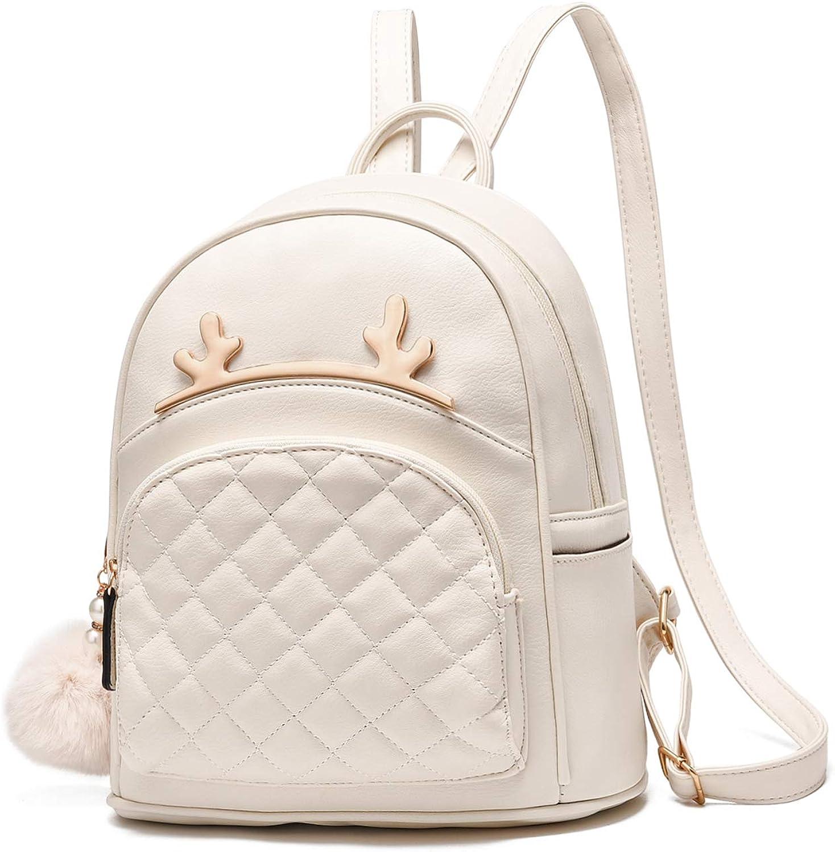 I IHAYNER Women Backpack PU Leather Rucksack Cute Cat//Deer Mini Backpack Purse Ladies Shoulder Bag School Casual Travel Daypacks for Women Teen Girls VELA