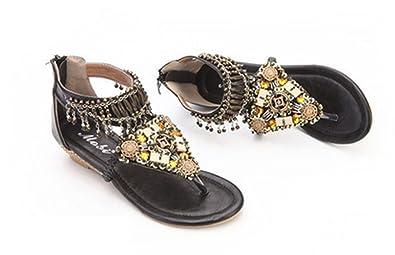 Women's Retro Roman style Beaded Casual Comfortable Leatherette Wedge Heel Flip-flop Sandals