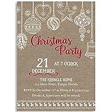 Burlap Christmas Party Invitation, Holiday, Country, Christmas, Invitations, Lace, Burlap, Snowflake, Ornaments, Kraft, 10 Printed Invites,, Rustic, Chic, Country, Shabby, Farm House
