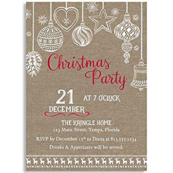 amazon com burlap christmas party invitation holiday country