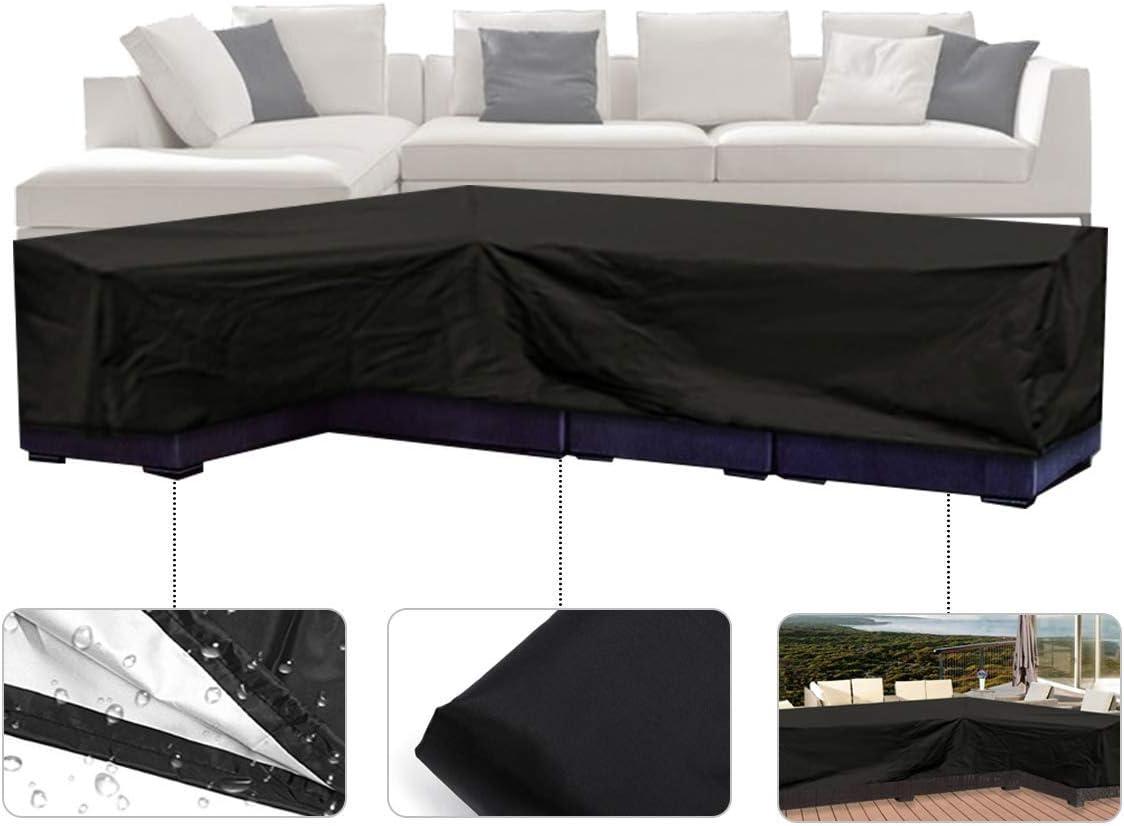 ESSORT Funda De Sofá En Forma De L Funda Protectora Sofá de la Esquina Fundas Muebles Impermeable, 270 x 200 x 90cm Negro