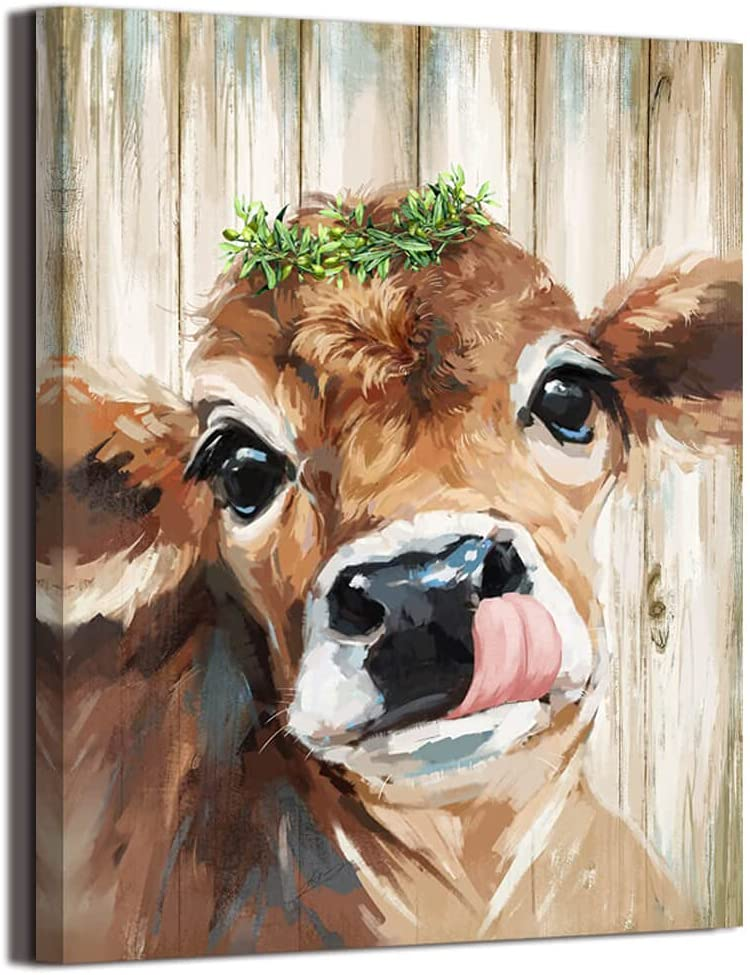"""Country Farmhouse Bathroom Cute Cow Decor canvas print picture wall art retro style nice present Placed in Home Bedroom Office Study fireplace kitchen Bedroom Dining Room 12""""X16"""" …"""