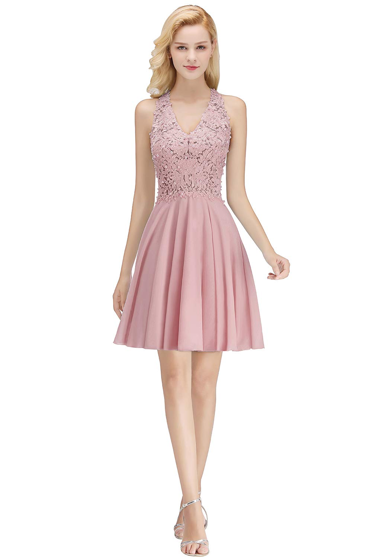 550358d5b29 Home Prom Dresses MisShow 2018 Women s Cocktail Dresses Lace Applique Short Prom  Dress Dusty Pink US12.   