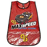 PERLETTI Disney Cars Kids Apron - Lightning McQueen Waterproof Smock for Boys with Handy Pockets - Ideal to Protect Children's Clothes - 3 to 5 Years - Red