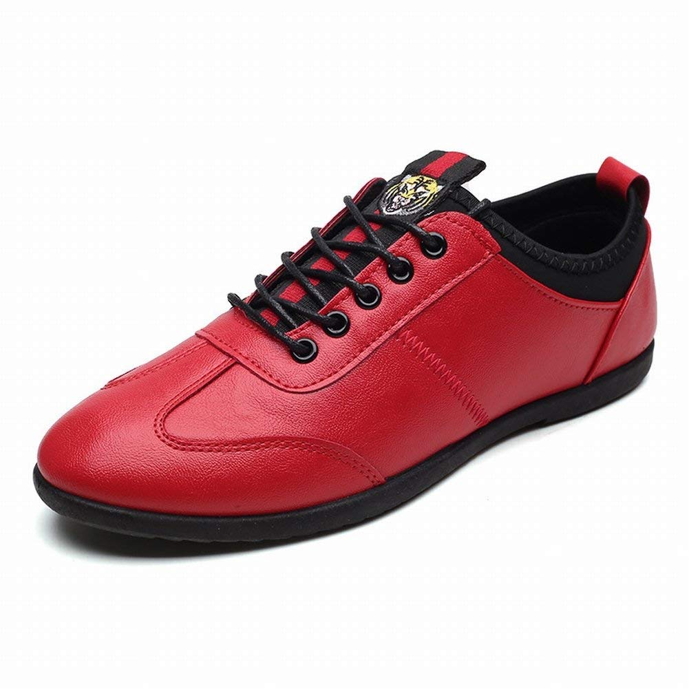 Red Hhgold Fashion Low Help Casual shoes Comfortable All-match shoes Light Breathable Men shoes (color   Black, Size   44)