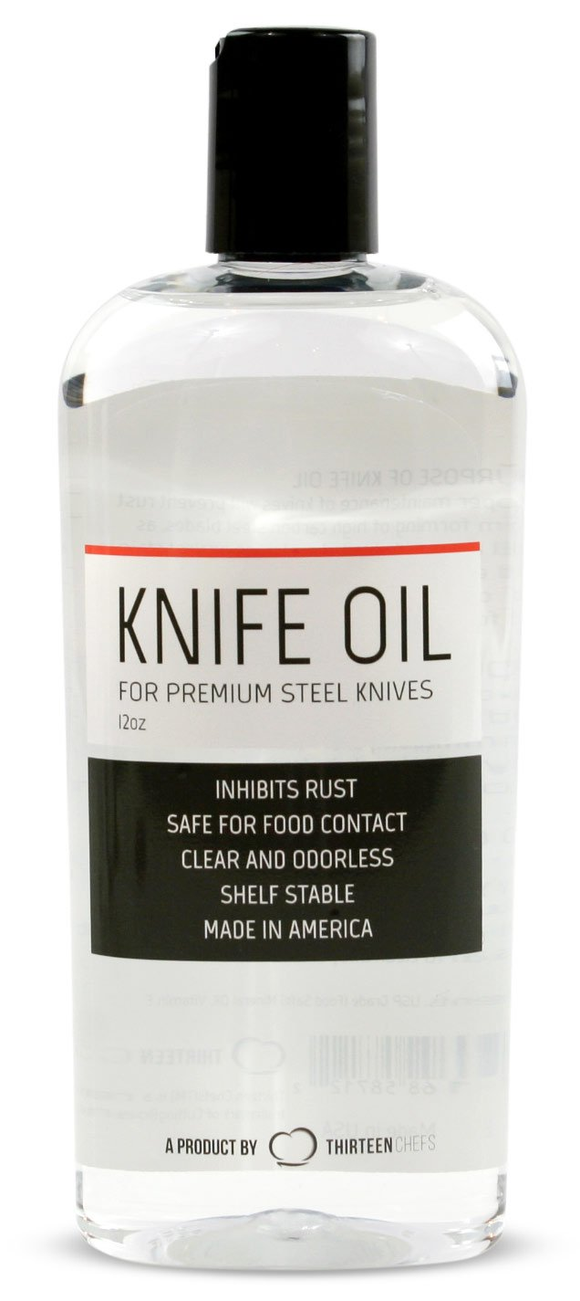 Thirteen Chefs Knife and Honing Oil 12oz - Food Safe, Protects Carbon Steel Knives, Sharpening Stone Ready, Made for Chefs by Thirteen Chefs