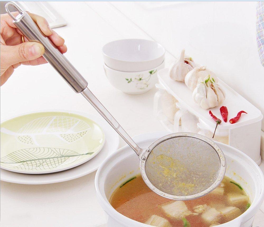 AsentechUK® Stainless Steel Ultrafine Mesh Oil Skimmer Strainer Colander Spoon Filter Soup Strainer Kitchen Tool LEPTS240