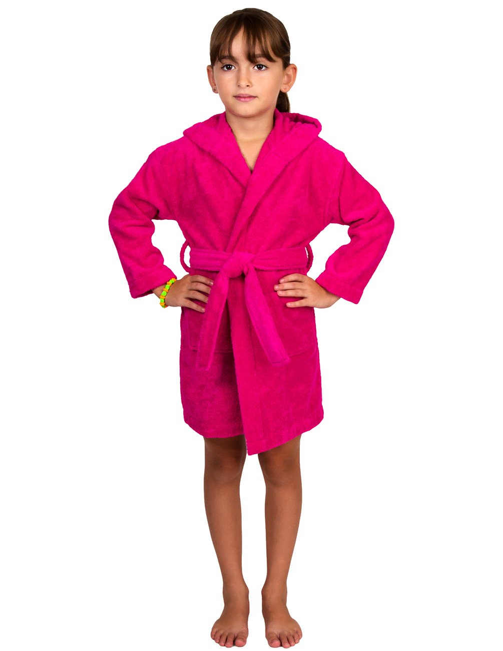 TowelSelections Hooded Kids Bathrobe - Terry Cloth Robe for Boys and Girls, 100% Egyptian Cotton, Made in Turkey, Pink, S/M