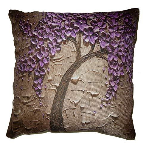 Beautiful Digital Purple Flower Tree Print Fancy Jute Gorgeous Cushion Cover Back Zip Closure Indian Bohemian Traditional Decor Sofa Sham Bed Pillow Floor Cushion Car Cushion (IIN-FCC-42)