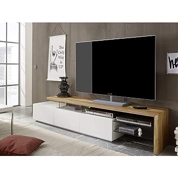 best sneakers 9338e 06f35 ModaNuvo Large White & Solid Oak Glass Modern TV Unit ...