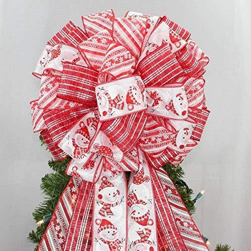 Festive Snowman Christmas Tree Topper Bow