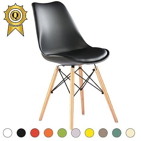 Chaise 1 Assise Bois Coussin MOBISTYL Noir Pieds Eiffel TULEL Promo NO Scandinave x Clair 1 Inspiration xoderCB