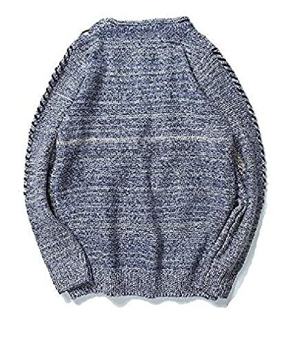 Zantt Mens Long Sleeve Round Neck Ribbed Cable Knit Pullover Sweater
