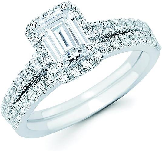 Stainless Steel 1.19 Ct Round Cut Cubic Zircona Wedding Ring Set Women/'s Sz 5-10