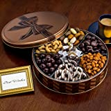 Chocolate and Nuts Gourmet Gift Basket | Valentine's Day, Holiday and All Occasions | Brown Bow Keepsake Tin Design | Dairy-Free, Deluxe Snack Sampler