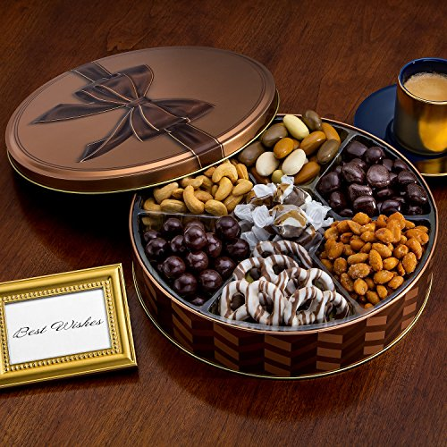 Chocolate and Nuts Gourmet Gift Basket | Christmas Holiday and All Occasions | Brown Bow Keepsake Tin Design | Dairy Free, Deluxe Snack Sampler (Cookies Baskets)