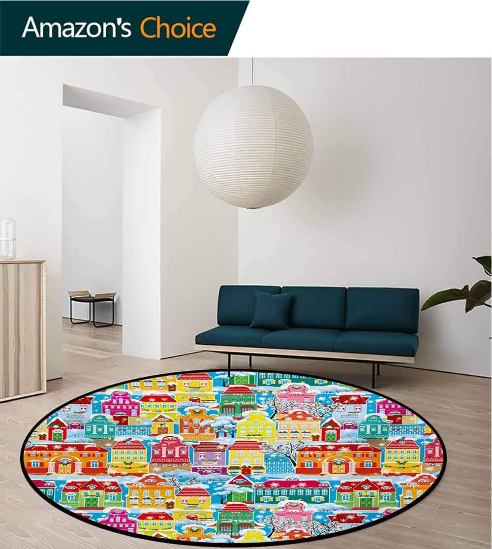 RUGSMAT City Rug Round Home Decor Area Rugs,Colorful Town Design Ornamental Winter Holiday Christmas Time Architecture Pattern Non-Skid Bath Mat Living Room/Bedroom Carpet,Diameter-59 Inch