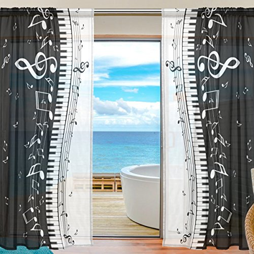 SEULIFE Window Sheer Curtain Abstract Music Note Piano Voile Curtain Drapes for Door Kitchen Living Room Bedroom 55x78 inches 2 ()